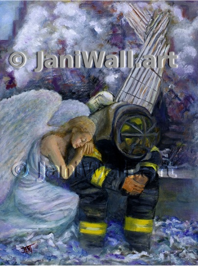 "<font color = pink>911 Angel <br> 9"" X 12""<br> <font color = yellow> Original (framed)</font> <br><font color=lightgreen> $ 2,000.00 <br><font color = yellow> <br>Giclee Print<br>$125.00 </font> <br>Framed Giclee Print<br>$150.00 <br><p><font color=lightblue>Jani made her first trip to Ground Zero in November 2001, and saw first hand the rubble of the twin towers. After returning to her home in Atlanta, she was struck one day by a drawing of an angel that she found at work. As a creative person, she was inspired by the image of that figure and incorporated aspects of what she had seen firsthand in the rubble to create a picture in her mind.     The final image is of an angel who is comforting a firefighter as the towers are collapsing in the background. Through the long process involved in getting her vision on canvas, Jani realized the importance of tapping into spirituality during times of trouble. It was not until more than a year that she was finally able to take up her brush and it took her another six months to create her painting that she eventually called ""9/11 Angel.""     After completion, Jani revisited New York City to present a giclee print of the painting that she made to the New York Fire Department No. 10, which is the closest station to Ground Zero. </p>"