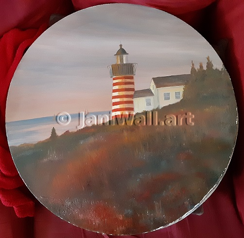 "Lighthouse <br> 20"" Diameter Round <br> <font color = yellow> Original</font> <br><font color=lightgreen> $ 350.00<br><font color = yellow>"