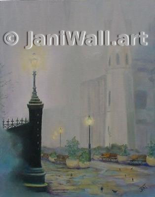 "Misty Blue <br> St Louis Catheral<br>New Orleans, La <br> 16"" X 20""  <br> <font color = yellow> Original (Framed)</font> <br><font color=lightgreen> $ 1,750.00 <br><font color = yellow> <br>Canvas texture poster prints available<br>"