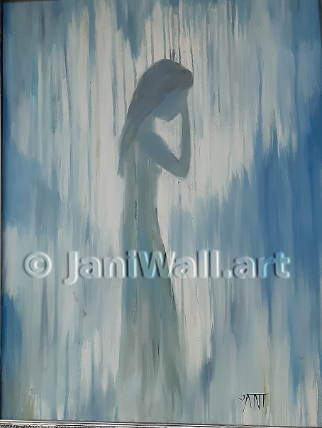 "Rainy Blue <br> 18"" X 24"" <br> <font color = yellow> Original (Framed)</font> <br><font color=lightgreen> $ 350.00<br><font color = yellow>"