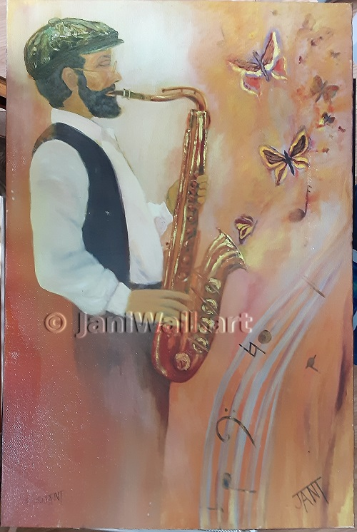 "Saxman <br> 24"" X 36"" <br> <font color = yellow> Original  - Sold</font> <br><font color=lightgreen>Prints <br> 12"" X 18""<br><font color = yellow>$75.00"
