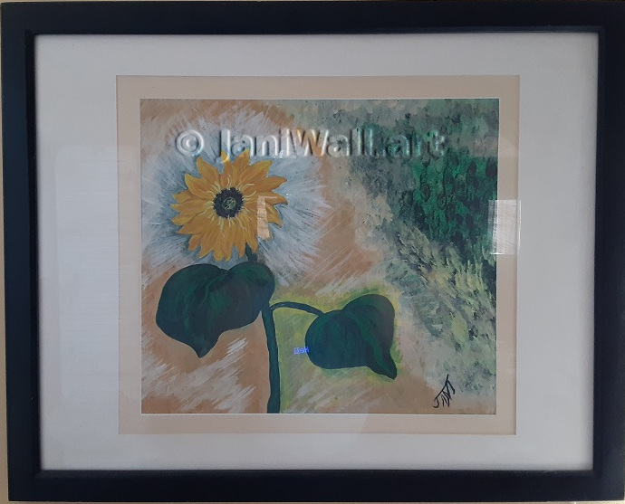 "Sunflower <br> 24"" X 30"" <br> <font color = yellow> Original - Matted & Framed</font> <br><font color=lightgreen> $ 750.00<br><font color = yellow>"