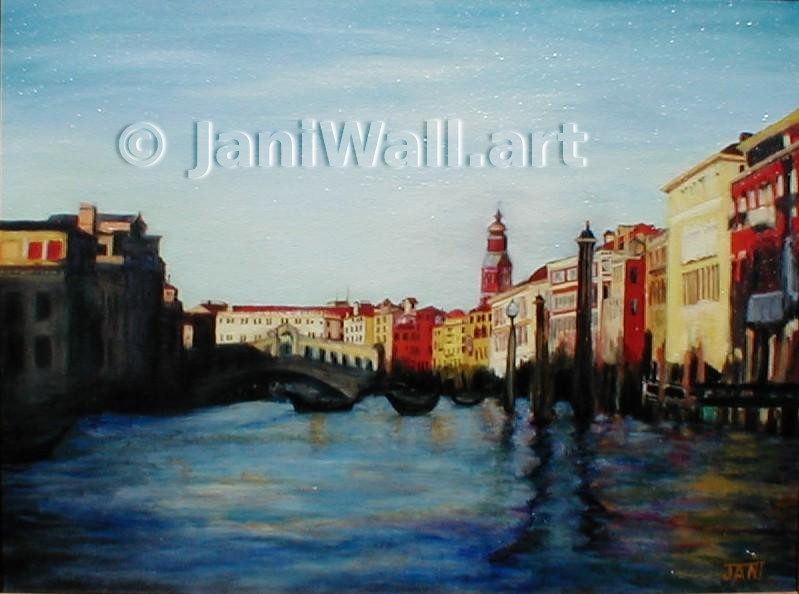 "Venice Shadows <br> 16"" X 20""  <br> <font color = yellow> Original</font> <br><font color=lightgreen> $ 750.00<br><font color = yellow> <br>Giclee Print<br>$125.00<br>"