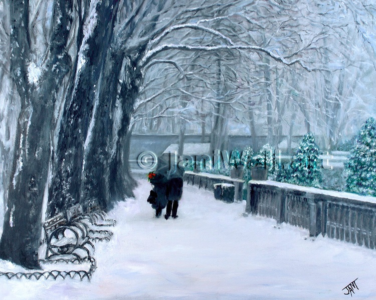 "Winter Walk <br> 16"" X 20""  <br> <font color = yellow> Original</font> <br><font color=lightgreen> $ 1,750.00<br><font color = yellow> <br>Giclee Print<br>$125.00<br>"